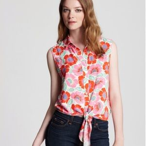 Theory front tie floral tank top collared red pink